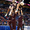 The Missouri State Cheerleaders perform at the Missouri Valley Conference, Arch Madness Tournament game one where S. Illinois defeated Missouri State 55-48