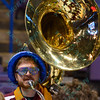 A tube player from the Southern Illinois band at the Missouri Valley Conference, Arch Madness Tournament game one where S. Illinois defeated Missouri State 55-48