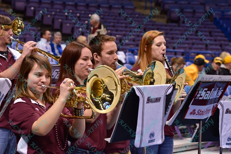 The Southern Illinois band performs at the Missouri Valley Conference, Arch Madness Tournament game one where S. Illinois defeated Missouri State 55-48
