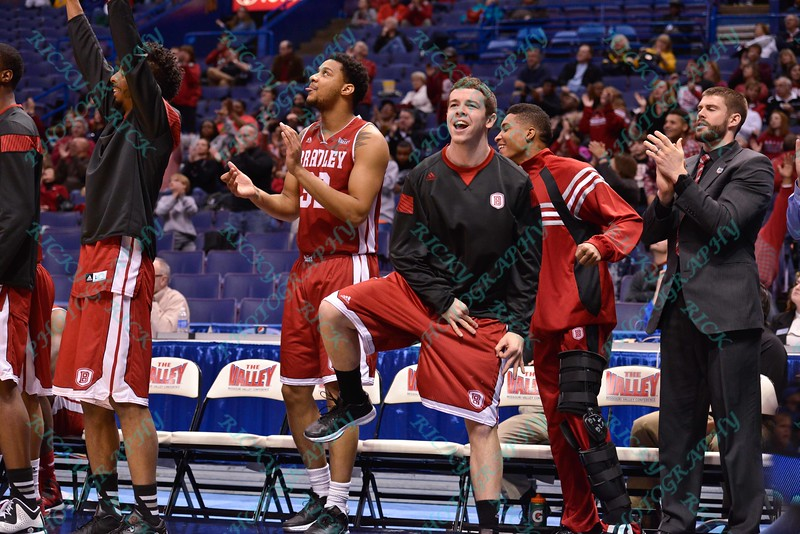 The Bradley bench gets excited after a big play at the Missouri Valley Conference, Arch Madness Tournament game two where Bradley Braves beat Drake Bulldogs by the score of 52-50