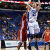 Drake Bulldogs guard/forward CHRIS CAIRD (25) takes a jump shot at the Missouri Valley Conference, Arch Madness Tournament game two where Bradley Braves beat Drake Bulldogs by the score of 52-50