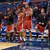 The Bradley bench explodes with excitement at the Missouri Valley Conference, Arch Madness Tournament game two where Bradley Braves beat Drake Bulldogs by the score of 52-50