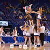 A member of the Bradley Braves does a flip from the pyramid at the Missouri Valley Conference, Arch Madness Tournament game two where Bradley Braves beat Drake Bulldogs by the score of 52-50