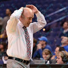 Drake head coach RAY GIACOLETTI does not like the call at the Missouri Valley Conference, Arch Madness Tournament game two where Bradley Braves beat Drake Bulldogs by the score of 52-50