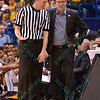 Wichita State head coach GREGG MARSHALL talks with one of the officials at the Missouri Valley Conference, Arch Madness Tournament game three where Wichita State defeated Southern Illinois by the score of 56-45