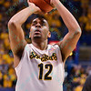 Wichita State Shockers forward DARIUS CARTER (12) takes a free throw shot at the Missouri Valley Conference, Arch Madness Tournament game three where Wichita State defeated Southern Illinois by the score of 56-45