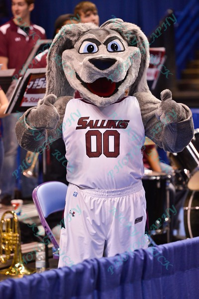 The Southern Illinois State mascot gives a thumbs up before the game at the Missouri Valley Conference, Arch Madness Tournament game three where Wichita State defeated Southern Illinois by the score of 56-45
