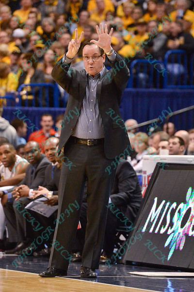 Wichita State head coach GREGG MARSHALL calls out play number 7 at the Missouri Valley Conference, Arch Madness Tournament game three where Wichita State defeated Southern Illinois by the score of 56-45