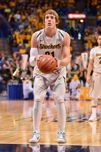 Wichita State Shockers guard RON BAKER (31) takes a free throw shot at the Missouri Valley Conference, Arch Madness Tournament game three where Wichita State defeated Southern Illinois by the score of 56-45