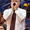 Southern Illinois head coach BARRY HINSON hollers out a play at the Missouri Valley Conference, Arch Madness Tournament game three where Wichita State defeated Southern Illinois by the score of 56-45
