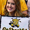 A Wichita State fan shows her support at the Missouri Valley Conference, Arch Madness Tournament game three where Wichita State defeated Southern Illinois by the score of 56-45