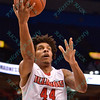 Illinois State University Redbirds guard DEVAUGHN AKOON-PURCELL (44) goes in for a layup shot at the Missouri Valley Conference, Arch Madness Tournament game four where Illinois State Redbird defeated Evansville Purple Aces by the score of 71-67