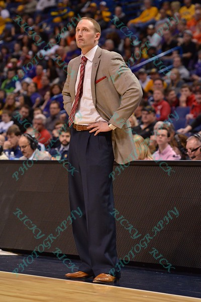 Illinois State University head coach DAN MULLER is not happy with what he sees on the court at the Missouri Valley Conference, Arch Madness Tournament game four where Illinois State Redbird defeated Evansville Purple Aces by the score of 71-67