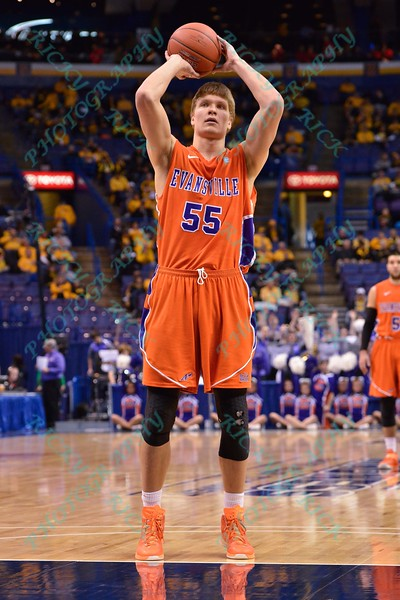 Evansville center EGIDIJUS MOCKEVICIUS (55) takes a free throw shot at the Missouri Valley Conference, Arch Madness Tournament game four where Illinois State Redbird defeated Evansville Purple Aces by the score of 71-67