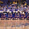 The Evansville cheerleaders perform at the Missouri Valley Conference, Arch Madness Tournament game four where Illinois State Redbird defeated Evansville Purple Aces by the score of 71-67