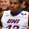 University of Northern Iowa Panthers forward MARVIN SINGLETON (12) sits on the bench trying to get his nose bleed to stop after catching a random elbow at the Missouri Valley Conference, Arch Madness Tournament game five where U. of Northern Iowa defeated Bradley by the score of 71-46