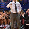 Bradley head coach GENO FORD signals to his players at the Missouri Valley Conference, Arch Madness Tournament game five where U. of Northern Iowa defeated Bradley by the score of 71-46
