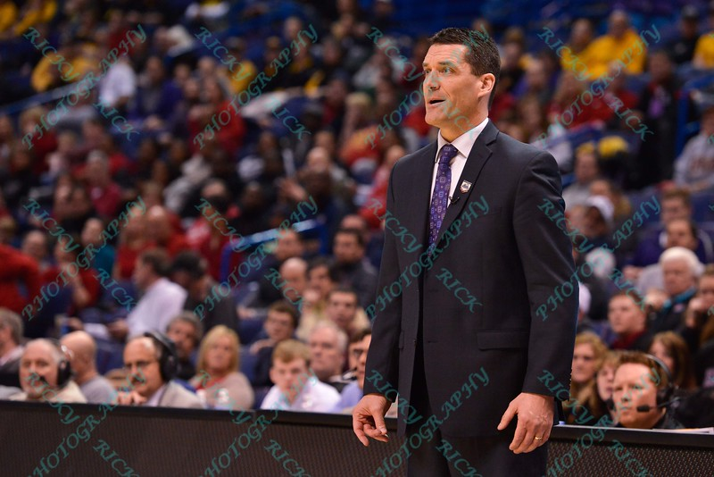 University of Northern Iowa head coach BEN JACOBSON at the Missouri Valley Conference, Arch Madness Tournament game five where U. of Northern Iowa defeated Bradley by the score of 71-46