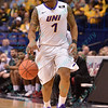 University of Northern Iowa Panthers guard DEON MITCHELL (1) brings the ball down the court at the Missouri Valley Conference, Arch Madness Tournament game five where U. of Northern Iowa defeated Bradley by the score of 71-46