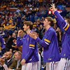 The U. of Northern Iowa bench gets excited over a three point play at the Missouri Valley Conference, Arch Madness Tournament game five where U. of Northern Iowa defeated Bradley by the score of 71-46