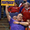 U. of Northern Iowa fans show their support at the Missouri Valley Conference, Arch Madness Tournament game five where U. of Northern Iowa defeated Bradley by the score of 71-46