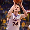 University of Northern Iowa Panthers forward NATE BUSS (14) takes a free throw shot at the Missouri Valley Conference, Arch Madness Tournament game five where U. of Northern Iowa defeated Bradley by the score of 71-46