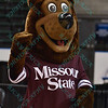 The Missouri State mascot at the Missouri Valley Conference tournament championship game where Wichita State defeats Missouri State by the score of 85-71 to capture their 3rd straight MVC Championship