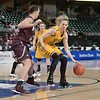 Wichita State Shocker forward KELSEY JACOBS (13) backs in on Missouri State Lady Bears forward/center HILLARY CHAVATAL (12) at the Missouri Valley Conference tournament championship game where Wichita State defeats Missouri State by the score of 85-71 to capture their 3rd straight MVC Championship
