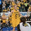 Wichita State Shocker forward ALLIE DECKER (21) gets introduced at the Missouri Valley Conference tournament championship game where Wichita State defeats Missouri State by the score of 85-71 to capture their 3rd straight MVC Championship