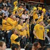 Wichita State fans react at the Missouri Valley Conference tournament game three where Wichita State defeated Loyola-Chicago by the score of 59-42