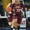 Loyola University Ramblers guard BECCA SMITH (23) brings the ball down court at the Missouri Valley Conference tournament game three where Wichita State defeated Loyola-Chicago by the score of 59-42