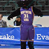 The University of Northern Iowa mascot at the Missouri Valley Conference tournament game four where University of Northern Iowa defeated Southern Illinois 59-50.
