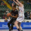 University of Northern Iowa Panthers forward ALYSSA JOHNSON (44) stands tall with defense on Southern Illinois University Salukis forward/center DYANA PIERRE (0) at the Missouri Valley Conference tournament game four where University of Northern Iowa defeated Southern Illinois 59-50.
