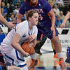 Drake Bulldogs forward/center BECCA JONAS (35) is able to corral a loose ball at the Missouri Valley Conference tournament game fifth game where Evansville upsets Drake by the score of 84-79 in overtime.