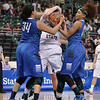 Indiana State Sycamores forward RACHEAL MAHAN (34), Indiana State Sycamores guard/forward JOYEA MARSHALL (13) and Missouri State Lady Bears forward RACHEL SWARTZ (34) battle for the ball\ at the Missouri Valley Conference tournament game six where Missouri State defeated Indiana State 75-57