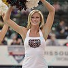 A Missouri State dancer at the Missouri Valley Conference tournament game six where Missouri State defeated Indiana State 75-57