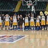 The Wichita State team lines up for the national anthem at the Missouri Valley Conference tournament game seven where Wichita State defeated University of Northern Iowa by the score of 56-42
