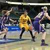 Wichita State Shocker guard/forward ALEX HARDEN (24) looks to drive and open lane at the Missouri Valley Conference tournament game seven where Wichita State defeated University of Northern Iowa by the score of 56-42