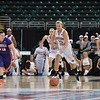 Missouri State Lady Bears forward AUBREY BUCKLEY (21) gets a fast break down the court at the Missouri Valley Conference tournament game eight where Missouri State defeated Evansville by the score of 75-66