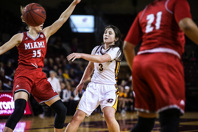Central Michigan University's Presley Hudson (3) passes the ball against Miami University's Abbey Hoff (35) at McGuirk Arena in Mt. Pleasant Wednesday, Jan. 18, 2017. (PHOTOS BY KEN KADWELL -- FOR THEMORNINGSUN.COM).