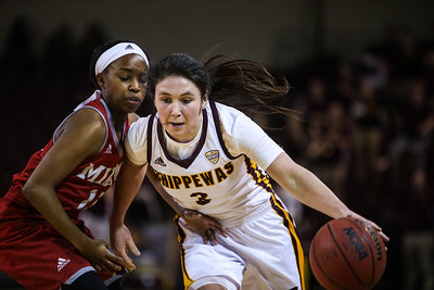 Central Michigan University's Presley Hudson (3) drives the ball against Miami University's Lauren Dickerson (13) at McGuirk Arena in Mt. Pleasant Wednesday, Jan. 18, 2017. (PHOTOS BY KEN KADWELL -- FOR THEMORNINGSUN.COM).
