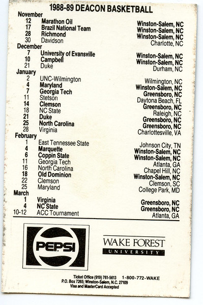 wake forest basketball pocket schedule<br /> 1980s, 1990s