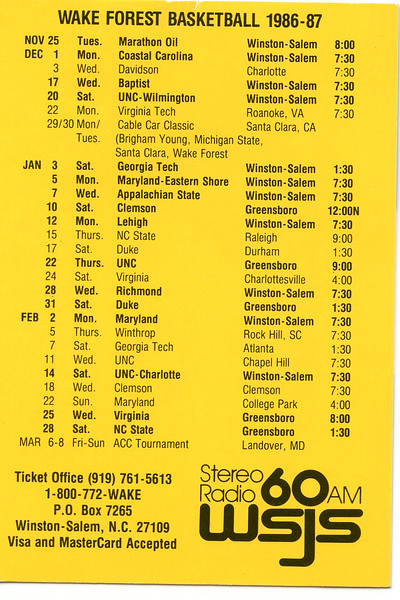 wake forest basketball pocket schedule<br /> 1980s, 1990s Muggsy Bogues