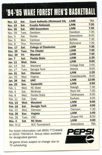wake forest basketball pocket schedule<br /> 1990s, 2000s Randolph Childress