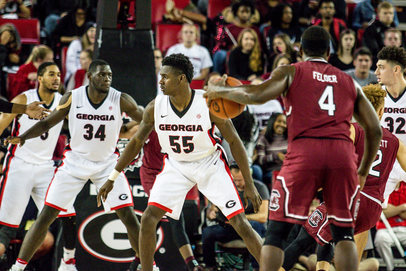 Georgia guard Jordan Harris (55) during the Bulldogs' game against South Carolina  at Stegeman Coliseum in Athens, Ga., on Wednesday, Jan. 4, 2017.  (Photo by John Paul Van Wert/Georgia Sports Communication)