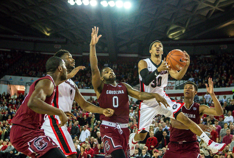 Georgia guard J.J. Frazier (30) during the Bulldogs' game against South Carolina at Stegeman Coliseum in Athens, Ga., on Wednesday, Jan. 4, 2017. (Photo by John Paul Van Wert / Georgia Sports Communications)