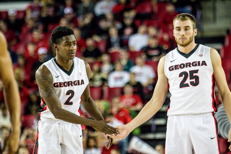 Georgia forward Kenny Paul Geno (25) and guard Jordan Harris (2) during the Bulldogs' game against Louisiana Lafayette at Stegeman Coliseum in Athens, Ga., on Wednesday, Dec. 14, 2016. (Photo by John Paul Van Wert/Georgia Sports Communications)