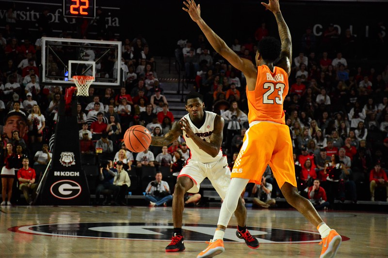 Georgia guard Tyree Crump (4) during the Bulldogs' game against Tennessee at the Stegeman Coliseum in Athens, Ga. on Saturday, Feb. 17, 2018. (Photo by Caitlyn Tam)