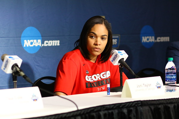 Georgia Lady Bulldogs players Taja Cole, Gabby Connally and head coach Joni Taylor during the NCAA press conference at Stegeman Coliseum in Athens, Ga. on Sunday, March 18, 2018. (Photo by Steffenie Burns)