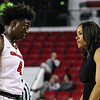 Georgia's Caliya Robinson (4) and head coach Joni Taylor during the Bulldogs' game against Alabama at Stegeman Coliseum in Athens, Ga., on Thursday, February 23, 2017. (Photo by Cory A. Cole)